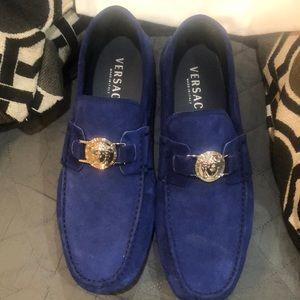 Mens Versace Blue Suede Shoes